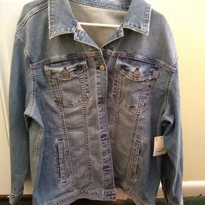 Stone washed Blue Jean Long Sleeved jacket XL